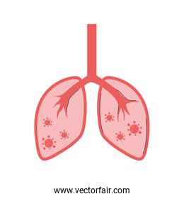 covid 19 coronavirus, infectious lung disease pandemic outbreak, isolated icon