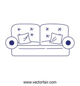sofa and cushions furniture decoration isolated icon on white background