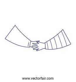handshake friendly gesture isolated icon on white background