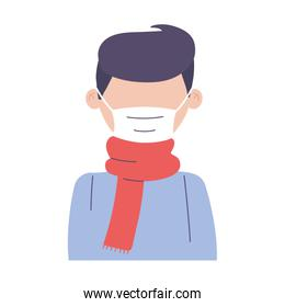 covid19 coronavirus, sick man with scarf and medical mask, isolated icon