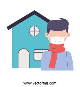 isolated man with mask and scarf protection prevent in house