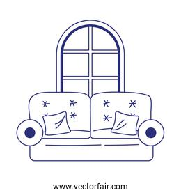 sofa with cushions and window house isolated icon on white background