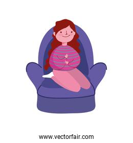happy girl sitting in sofa isolated icon on white background