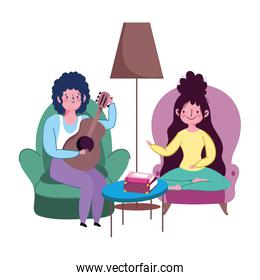 stay at home, couple in living room with guitar playing music cartoon