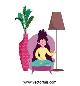 stay at home, young woman sitting sofa lotus pose cartoon