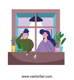 stay at home, quarantine coronavirus, couple in the window with plants