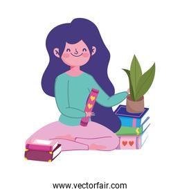 stay at home, young in floor with plant and of books