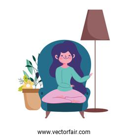 stay at home, girl sitting on chair with lmap and plant cartoon