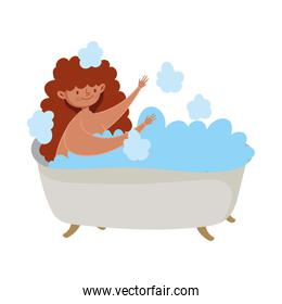 stay at home, young woman relaxing in bathtub isolated design