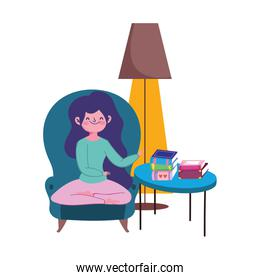 stay at home, girl sitting in chair with books on table cartoon