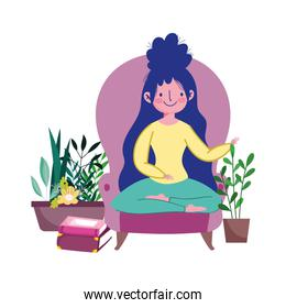 stay at home, young woman in chair with books and plants