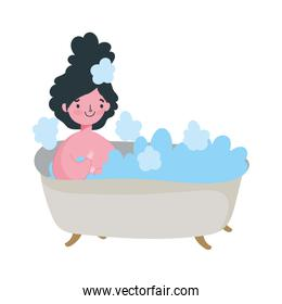 stay at home, young woman resting in bathtub