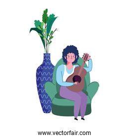 stay at home, cartoon young man playing guitar on chair with potted plant