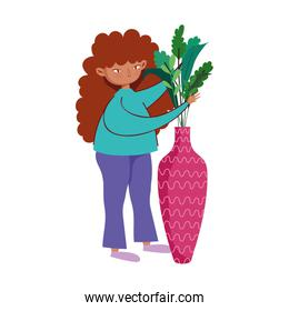 stay at home, girl with potted plant gardening hobby cartoon