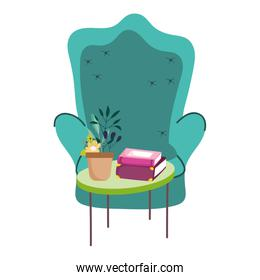 green chair and potted plant books on table decoration