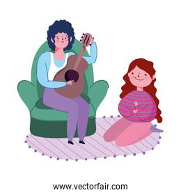 people differents activity, man playing guitar and girl in carpet, quarantine stay at home