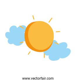 sun clouds weather isolated icon white background