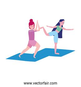 group happy girls practicing yoga on mats isolated design