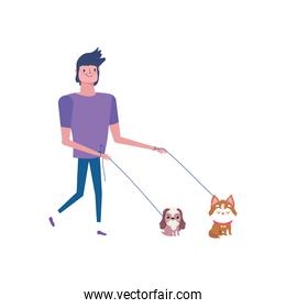 young man walking with two little dogs isolated design