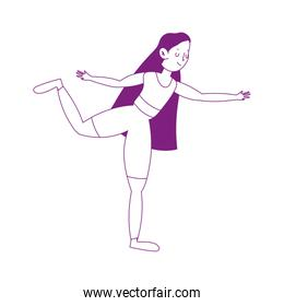 young woman in yoga pose practicing isolated icon white background