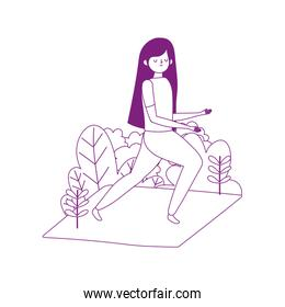 young woman practicing yoga in mat isolated icon white background