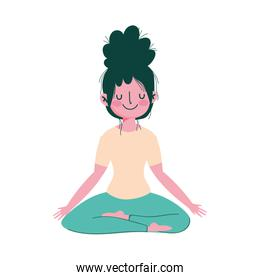girl in yoga pose practicing isolated icon white background
