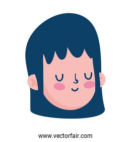 young boy face cartoon character isolated icon white background