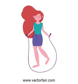 young girl with jump rope character isolated icon white background