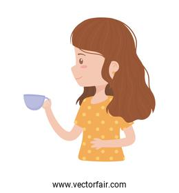 young woman character with coffee cup isolated icon white background