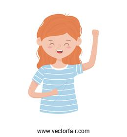 young woman waving hand character cartoon isolated icon white background