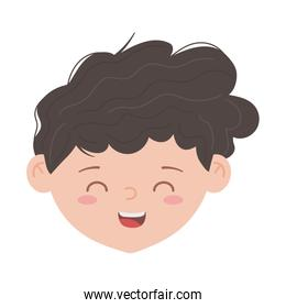 young boy face character isolated icon white background