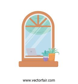 window facade exterior building isolated icon white background