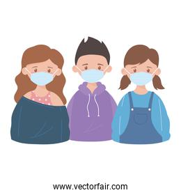 girls and boy with medical mask, prevention recommendation, coronavirus covid 19