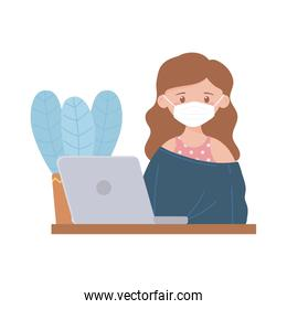 stay at home, young woman with mask working laptop