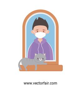 stay at home, young man with mask and cat in the window