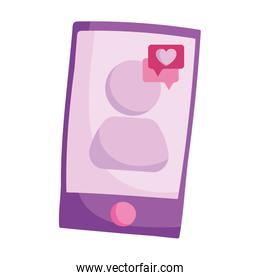 smartphone with  love message speech bubble isolated icon