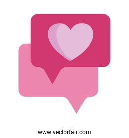 love hearts speech bubble message isolated icon white background