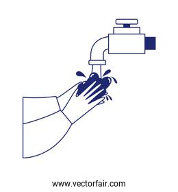 covid 19 washing hands frequently line style icon