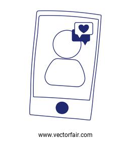 smartphone love message speech bubble isolated icon