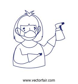covid 19 coronavirus, man with mask and spray bottle line style icon