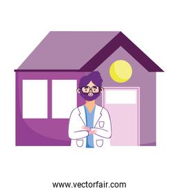 isolated doctor precaution symptoms and stay at home