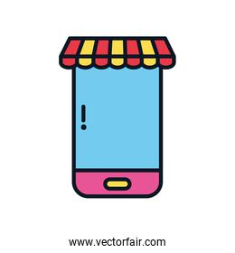 ecommerce concept, smartphone with store tent, color line style