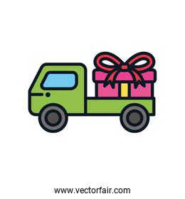 cargo truck with gift box icon, color line style