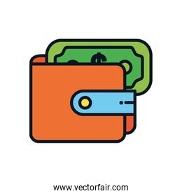 wallet with money bill icon, color line style