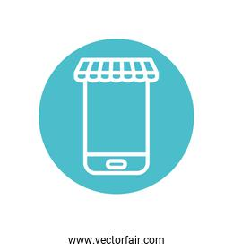 ecommerce concept, smartphone with store tent, block line style