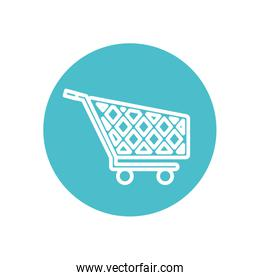 shopping cart icon, block line style