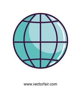 global sphere icon, line color style