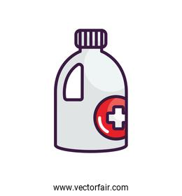 disinfectant bottle icon, line color style