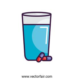 water glass and medication pills, line color style