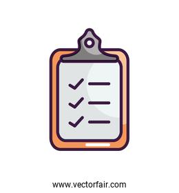 clipboard with checklist icon, line color style